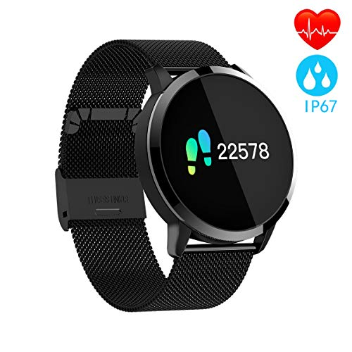 Pulsera Actividad Inteligente full OLED táctil Reloj Podometro Pulsera Hombre Mujer Impermeable IP67 Color Monitor de Frecuencia Cardiáco Reloj Inteligente para IOS y Android (Black)