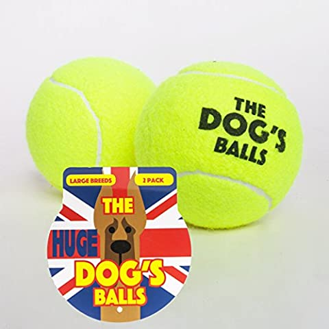 The Huge Dog's Balls, 2 Extremely Large Yellow Dog Tennis Balls (10.2cm diameter), Premium Dog Toy Ball for Dog Fetch & Play. Extra Large Dogs Balls, Too Big for Chuckit Launchers, the King Kong of Dog