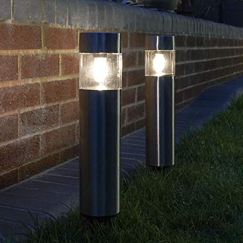 solarbetriebene wetterfeste Outdoor Edelstahl Wegeleuchte - inkl. Akkus, integrierten Solarpaneelen und Dämmerungsschalter, von Festive Lights (2er Pack Glühdraht LED)