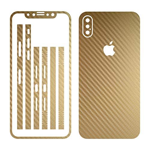 Leuchtkäfer Werbetechnik iPhone X Gold Carbon Folie Skin ZUM AUFKLEBEN Bumper case Cover schutzhülle i Phone (Iphone 4 Gold Aufkleber Skin)
