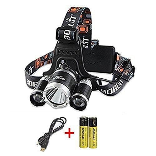 Preisvergleich Produktbild Boruit Led stirnlampe kopflampe Hochleistung Taschenlampe 6000LM mit USB-Kabel Netzteil und Batterie lichtstark Lampe