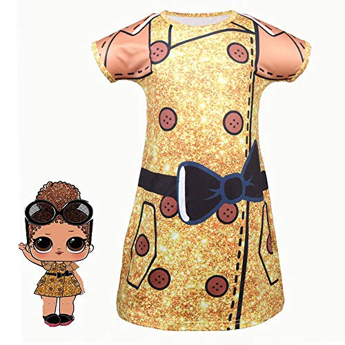 QYS Mädchen Kinder LOL Puppe Überraschung Prinzessin Kostüm Halloween Cosplay Kostüme Party - Pan Am Mädchen Kostüm