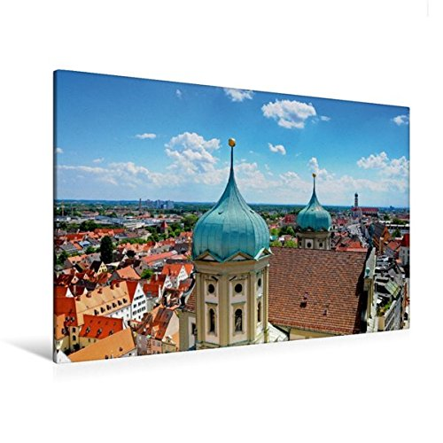 Calvendo Premium Textil-Leinwand 120 cm x 80 cm Quer, Rathaus von Augsburg | Wandbild, Bild auf...