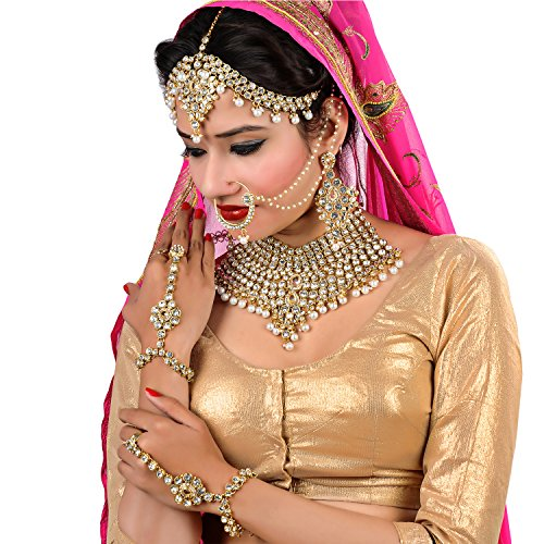 Lucky Jewellery Traditional White Color Gold Plated Kundan Bridal Wedding Set For...