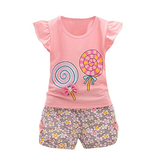 Hot!! Hot!! for 1-4 Years Old Girl Clothes Set//2PCS Toddler Kids Girls Outfits Clothes Lolly T-Shirt Tops+Short Pants (Pink, 3/4T)