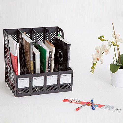 kkmoon COMIX b2174Büro Desktop Kunststoff Stehsammler Literatur Halterungen Organizer Etiketten 4fach Schwarz