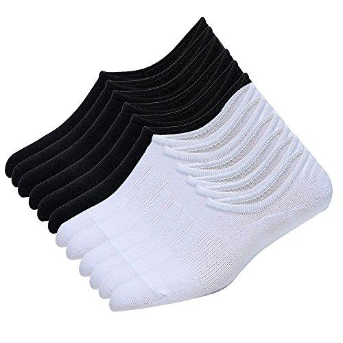 CHENYUE Herren Sneakersocken 6 Paar rutschfeste athletische Baumwolle Sportliche, tief geschnittene Baumwollsocken (schwarz3 weiß3) -