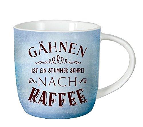 Grafik Werkstatt 60348 Tasse mit Spruch, Gähnen ist ein stummer Schrei nach Kaffee, spülmaschinengeeignet, Porzellan, blau, 12.5 x 9.5 x 8.5 cm