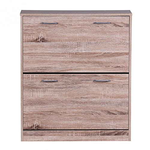finebuy schuhkipper finn 75 x 87 x 24 cm sonoma eiche 2 klappen 20 paar schuhe moderner. Black Bedroom Furniture Sets. Home Design Ideas