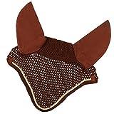 MagiDeal Fliegenhaube Weiche Baumwolle Häkeln Fliegen Schleier Ohrenschutz Für Pferd, 10 Farbe - Schokolade