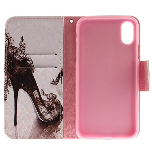 "MOONCASE iPhone X/iPhone 10 Housse, Built-in Étui Card Slots Protection [Colorful Painting] Coque PU Cuir Flip Case avec Support pour iPhone X 5.8"" Totem High Heels"