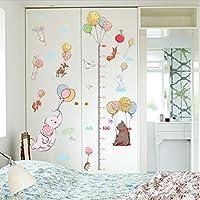 asfrata265 Cute Elephant With Balloon Cartoon Animal Wall Sticker Height Ruler Measuring Children