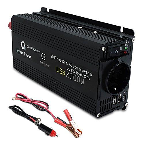 Yinleader Spannungswandler 800 W für Auto, 2000 W (Maximum) Transformator 12 V A 230 V, Wechselrichter mit Stecker und 2 3,1 A USB, für Auto, iPhone, iPad und Tablet