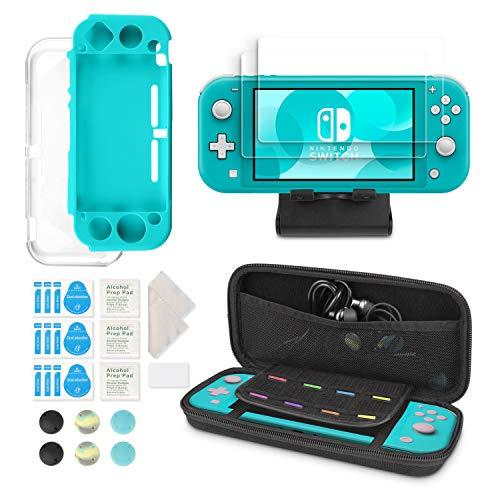 Younikoo 6-in-1 Kit Accessori Nintendo Switch Lite - Custodia per Il Trasporto Nintendo Switch Lite/Cover Trasparente per Switch/Proteggi Schermo/Supporto Regolabile/Protezione analogico per Joystick