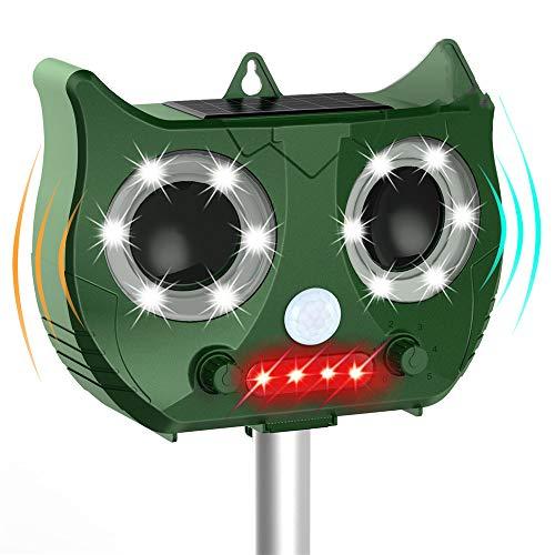 LINGGE Katzenschreck Taubenabwehr Katze Schreck Katzenabwehrmittel, solarbetriebenes wasserdichtes Ultraschall-Tierabwehrmittel, zweifarbiger Blitz und einstellbare akustische Alarmfunktion aktivieren