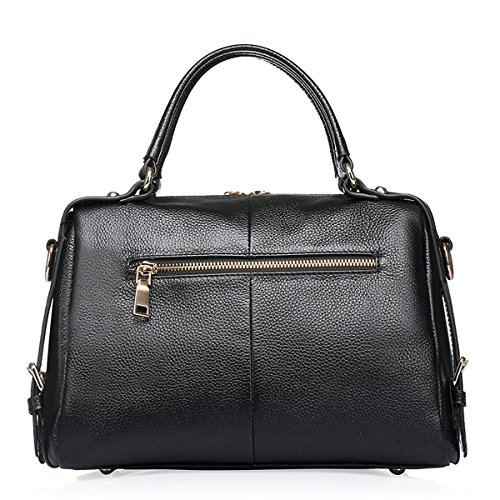 Dissa Q0715 Damen Leder Handtaschen Top Handle Satchel Tote Taschen Schultertaschen,29x13x21 B x T x H (cm) Schwarz