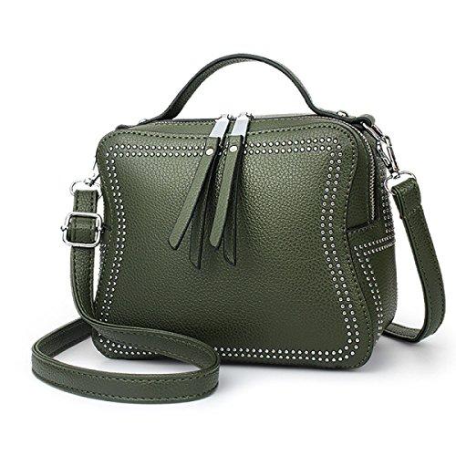ZPFME Womens Tote Handbag Autunno E Inverno Moda Rivetti Borsa A Tracolla Acquirente Pelle Party Green