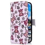 Uposao Kompatibel mit Samsung Galaxy M30 Hülle mit Bunt Muster Motiv Brieftasche Handyhülle Leder Schutzhülle Klappbar Wallet Tasche Flip Case Ständer Ledertasche Magnet,Cute Bär
