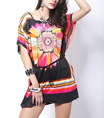 Vlunt rétro Imprimé Floral bohème Totem Slim Mini robe de soirée courte R