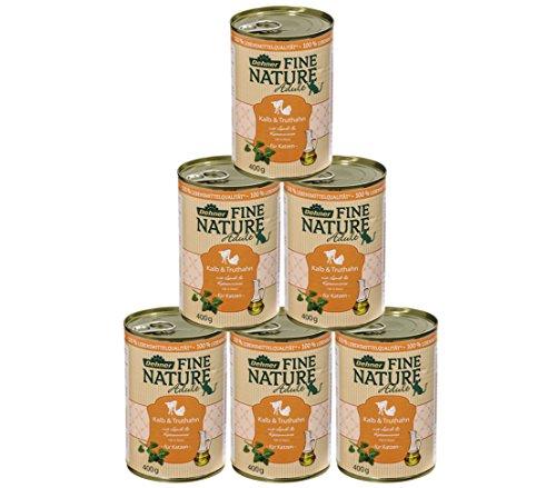 Dehner Fine Nature Katzenfutter Adult, Lebensmittelqualität, Kalb und Truthahn, 6 x 400 g (2400 g)