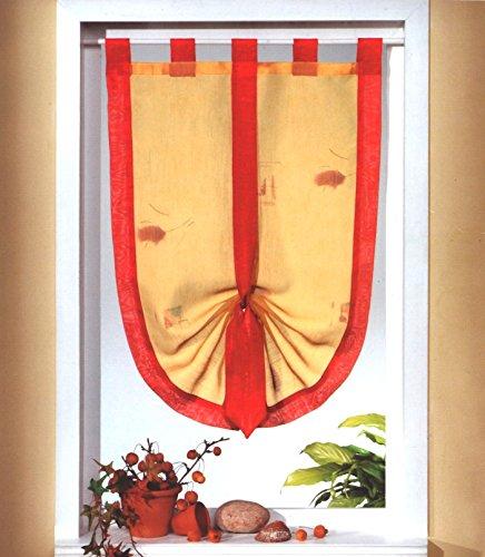 Zwei-ton-bistro (heimtexland Fensterdekoration Schwalbenschwanz Scheibengardine mit Schlaufen in Terra rot 45 x 75 cm individuell raffbar Vorhang Bistrogardine Mediterran Gardine Typ535)