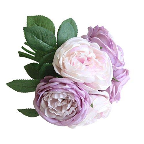 TAOtTAO Ramo de Flores Artificiales de Seda con 5 Flores para decoración de Flores y Hojas de jardín, Morado, Approx.9.4inch / 24cm