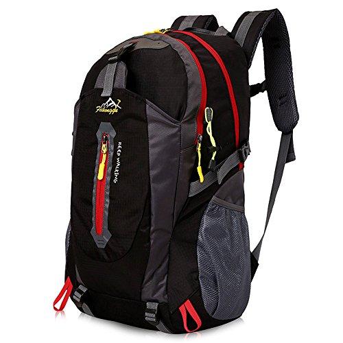Imagen de senderismo , gindoly daypack 40l ligero resistente al agua casual camping trekking  bolsa de hombro para ciclismo viajes escalada mountaineer deporte al aire libre negro