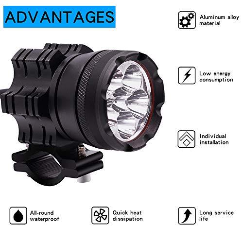 YGQersh Lampe Frontale de Moto étanche Phare stroboscopique CS-738B1 30W 6-LED