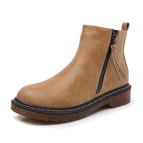 (Smilun Mädchen Halbschaft Stiefel Damen Desert Stiefel Biker Boots Damen Winterschuhe Braun Herstellergröße 37, EU36.5)