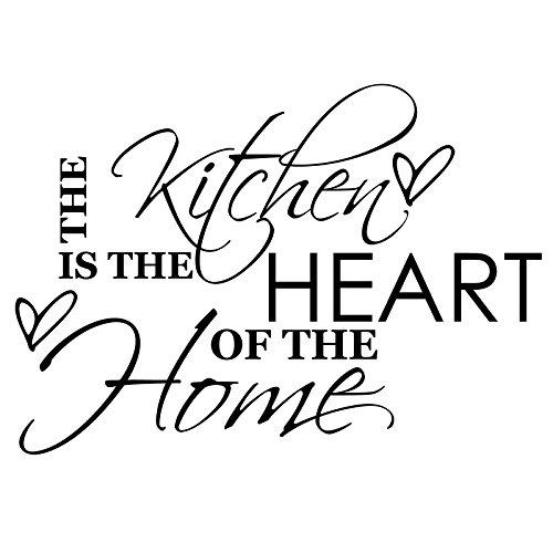 Preisvergleich Produktbild gskitchen _ 3 The Kitchen Is The Heart Of The Home Größe 88 cm x 60 cm Farbe wählen 18 Farben auf Lager. Windows und Wandtattoo,  Wand Windows Art,  Kinder Zimmer Sticker,  Aufkleber,  ThatVinylPlace schwarz