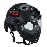 Casco táctico, de OneTigris, con máscara y gafas de protección, para Softair, Negro, Kopfumfang: 52-60cm
