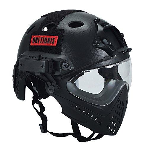 Casco táctico, de OneTigris, con máscara y gafas de protección, para Softair, Negro , Kopfumfang: 52-60cm