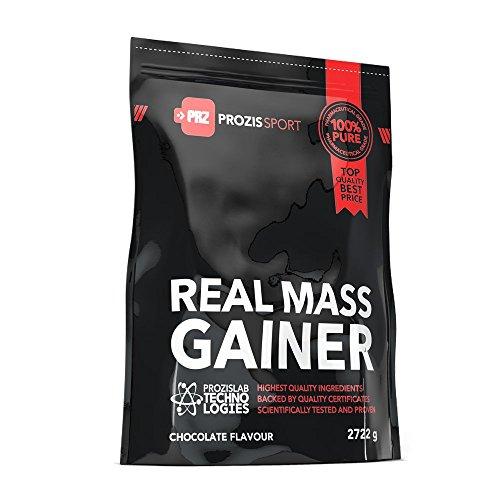 Prozis real mass gainer in polvere 2722g - miglior gusto cioccolato - gainer proteico per l'aumento del peso e il mantenimento e lo sviluppo della massa muscolare - 27g di proteine - 24 dosi