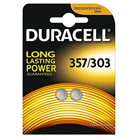 Duracell Specialty Type 357/303 Silver Oxide Battery, pack of 2