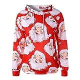 OverDose Damen Frauen-Weihnachtsmit Kapuze drucken Lange Hülsen-Sweatshirt-Blusen-Strickjacken-Partei-im Freien dünne Pullover Outwear Bluse(C-Rot,EU-48/CN-2XL)