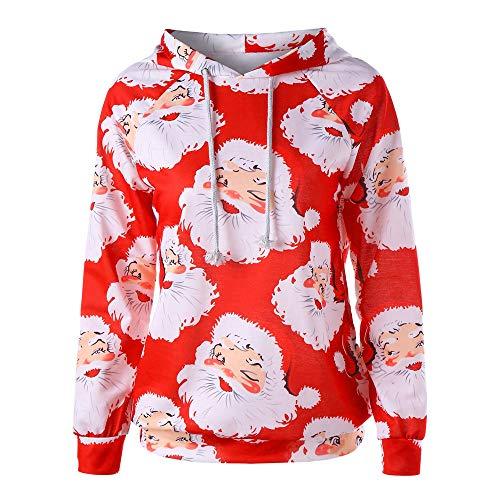 OverDose Damen Frauen-Weihnachtsmit Kapuze drucken Lange Hülsen-Sweatshirt-Blusen-Strickjacken-Partei-im Freien -