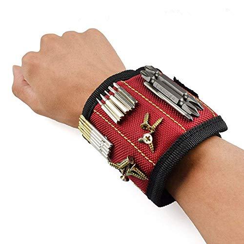 JUNCHUANG Magnetarmband mit leistungsstarken Magneten, einstellbare Riemenwerkzeuge Armbandgurt zum Halten von Magneten Werkzeugschrauben Nägel Bohrer