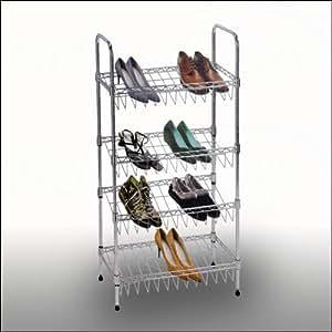 chrom schuhregal schuhst nder mit 4 ebenen nur 50 cm breit k che haushalt. Black Bedroom Furniture Sets. Home Design Ideas