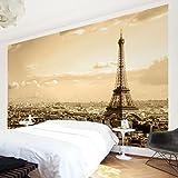Apalis Vliestapete I Love Paris Fototapete Breit | Vlies Tapete Wandtapete Wandbild Foto 3D Fototapete für Schlafzimmer Wohnzimmer Küche | braun, 94677