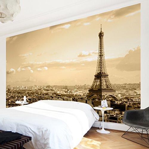Apalis Vliestapete I Love Paris Fototapete Breit | Vlies Tapete Wandtapete Wandbild Foto 3D Fototapete für Schlafzimmer Wohnzimmer Küche | braun, 94677 (Paris Schlafzimmer)