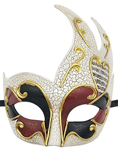 Herren Maskerade Maske Vintage Rissig Venetian Party Maske Halloween Mardi Gras Maske (Weinrot)