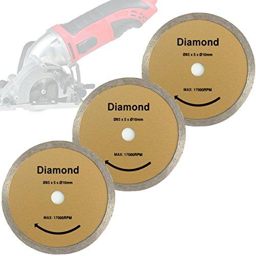 Preisvergleich Produktbild Mini Handkreissäge 3er-Set Sägeblatt Diamant-Trennscheibe 85x10mm für Matrix MCS 500-1