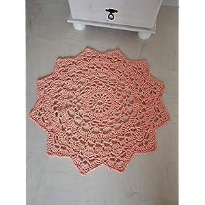 Teppich Häkelteppich Mandala lachs apricot gehäkelter Teppich