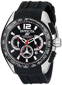 Invicta Men's 48mm Black Polyurethane Band Steel Case S. Sapphire Quartz Chronograph Watch 1453