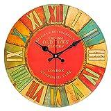 QIAOB 14'Vintage Colorido Francia París País francés Estilo Toscano Hogar Silencio Reloj de Pared Redondo de Madera Sala de Estar, Dormitorio,D
