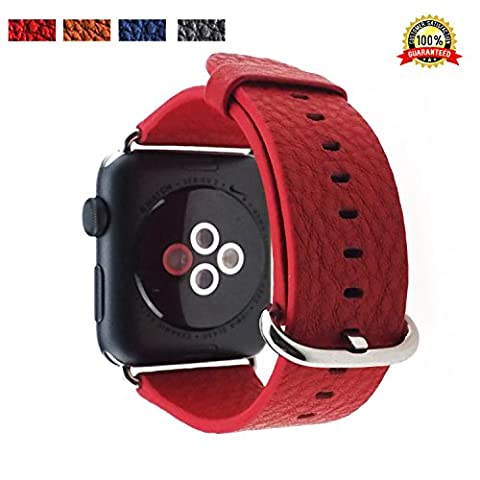 VICO Leather Apple Watch Band 38mm Replacement i Watch Bands Men / Women of Silver Stainless Steel Buckle [Genuine Vintage] Leather Strap Loop for Series 2 & 1 2015 & 2016 Sport / Edition (38mm, Red)