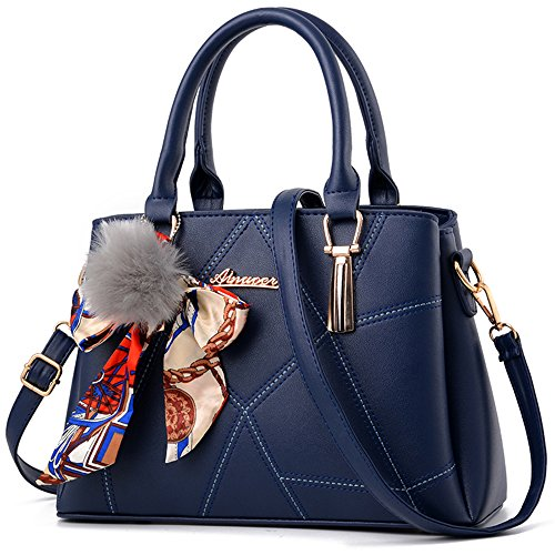 Crossbody Taschen für Frauen, EaseGave Vegan Leder Tote Handtaschen mit langem Armband Blue