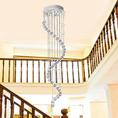 Homcom Modern Crystal Chandelier Ceiling Light Pendant Lamp Chrome Finish Glass Droplets New by Sold by MHSTAR