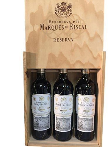 Caja de madera 3 botellas - Márques de Riscal Reserva 2013 - Vino tinto