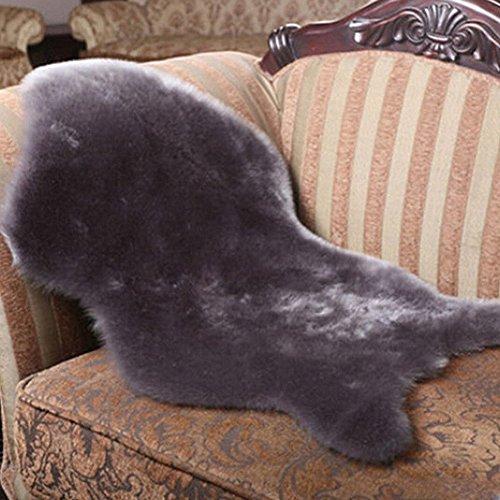 Luxus Raum Weiches Kunstfell-Stuhl Bezug Sitz Kissen Pad Plüsch Schlafzimmer Teppich Matte (90* Aquariumhintergrund), grau, 2ft*3ft